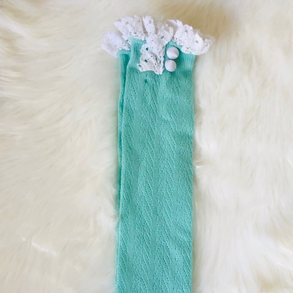 Other - Mint Tall Boot Socks Ruffles Button